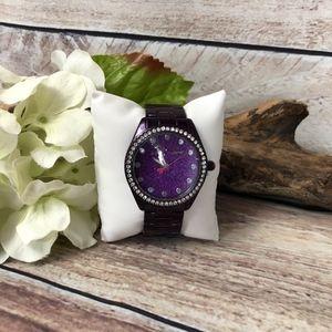 Betsey Johnson Purple Glitter Fashion Watch